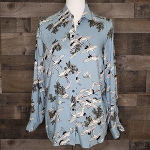 Bird Print Blouse Button Up Topshop NWT